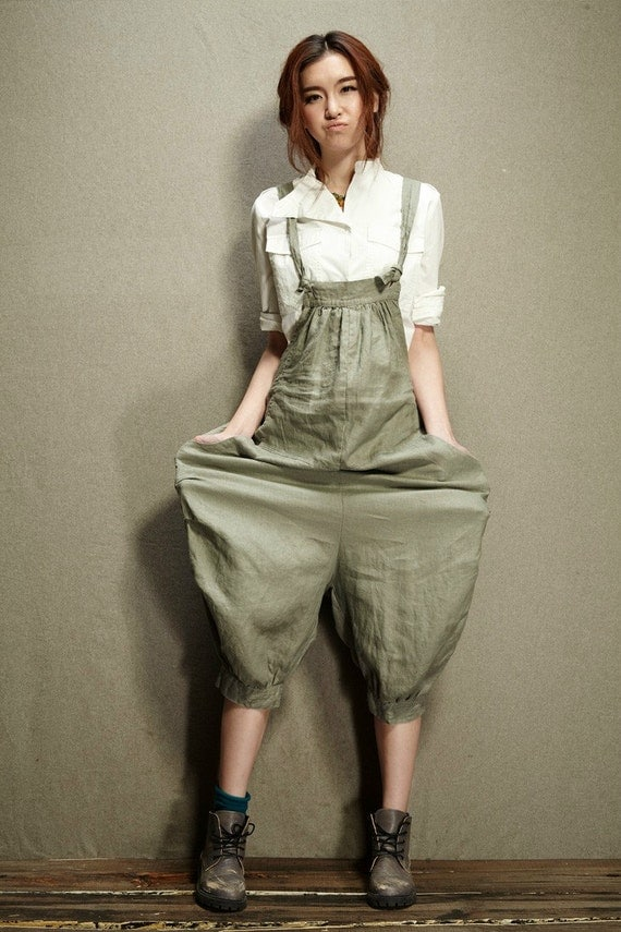 Casual Loose Fitting Linen Suspender Slacks Overalls By