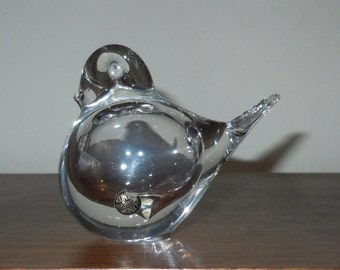 Beautiful Handblown Mid-Century Swedish Konst Glashyttan Urshult Glass Bird