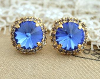 Sapphire blue Rhinestone stud earrings,Swarovski Crystal jewelry, bridal earrings - 14k plated gold post earrings real swarovski rhinestones