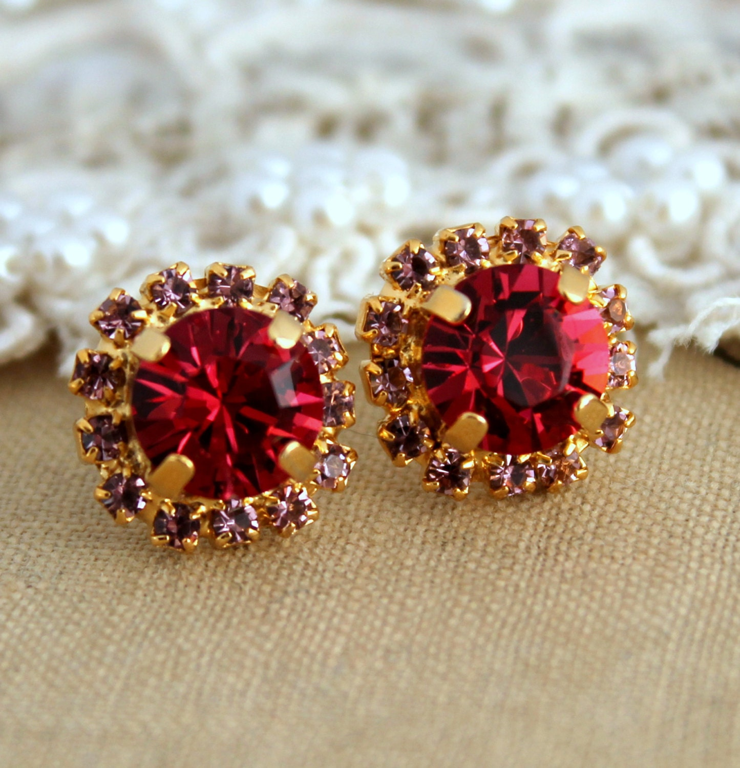 Red Ruby Crystal Stud Classic Earring 14 K Plated Gold By. Pocket Watch Necklace. Byzantine Bracelet. Daisy Wedding Rings. Leaf Design Engagement Rings. Rubber Bands. Jennings Watches. Anklet Cuff. September Rings