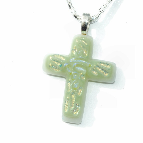 Dichroic Fused Glass Cross Pendant, Fused Glass Jewelry, Pastel, Jesus, Christ, Hope, Faith, Love, Spring, Easter(Item 10155-PC)
