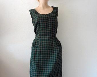 1950s Day Dress - preppy plaid sheath / collegiate vintage fall fashion size M