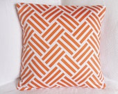 30% OFF!! Designer Tangerine and White Throw Pillow - Woven Zig Zag Graphic Pillow Cover 18x18