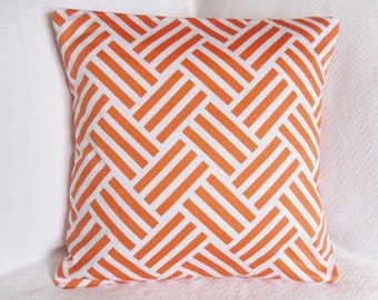 CLEARANCE!! Designer Tangerine and White Throw Pillow - Woven Zig Zag Graphic Pillow Cover 18x18