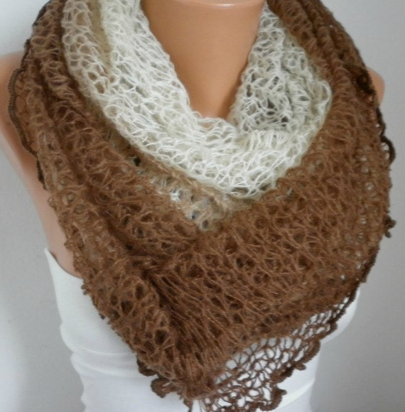 Items similar to Knitted Infinity Scarf Winter Accessories Loop Scarf Circle ...