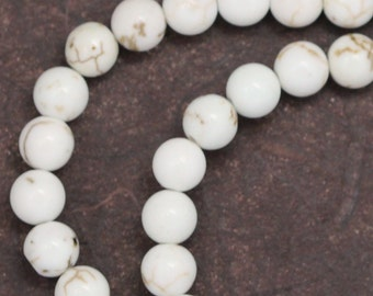 White Magnesite Beads - 6mm Round