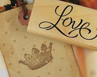 1Pcs Wooden Rubber Stamp - Vintage Style -Love