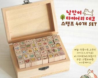 40 Kinds Korea DIY Wooden Box Rubber Stamp-Cat Stamp