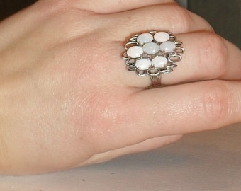 EXQUISITE ---Vintage Firery OPAL Cluster CoCKTaiL----EyE Catching  ---STerLINg-Ring Sz 6.5