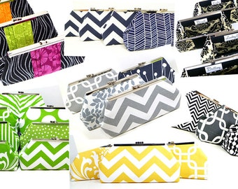 Bridesmaid Clutches Wedding Clutch Bridal Party Gifts Choose Your Fabric Set of 7