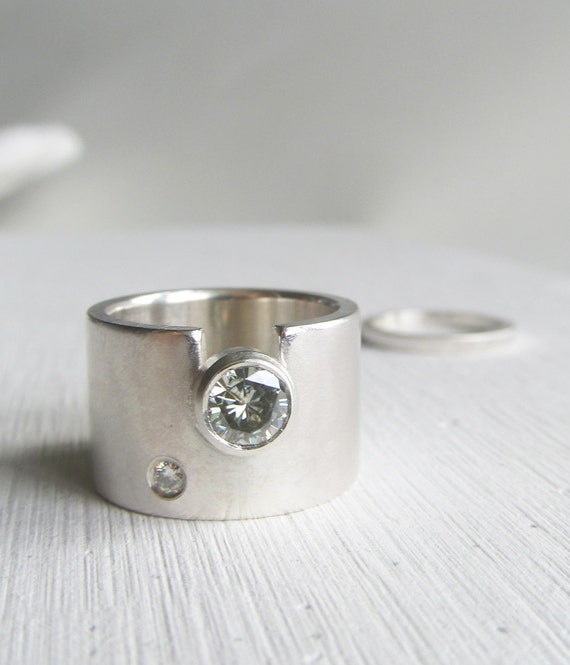 modern wide band engagement ring wide wedding ring by lolide