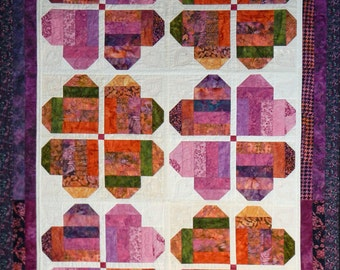 Hearts Lap Quilt, 4657-0, Hearts wall quilt, hearts wall hanging, pink and orange hearts wall quilt