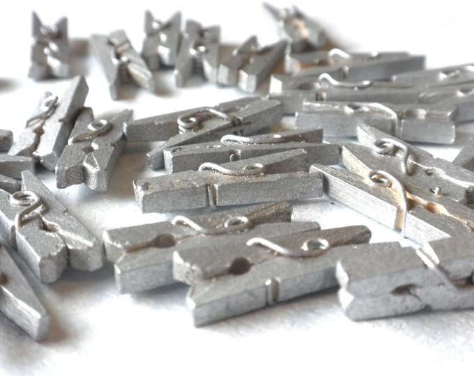 """Mini Clothespins in Silver - 100 - 1"""" or 2.5 cm - Wooden - Great for Wedding Favors and Decorations"""