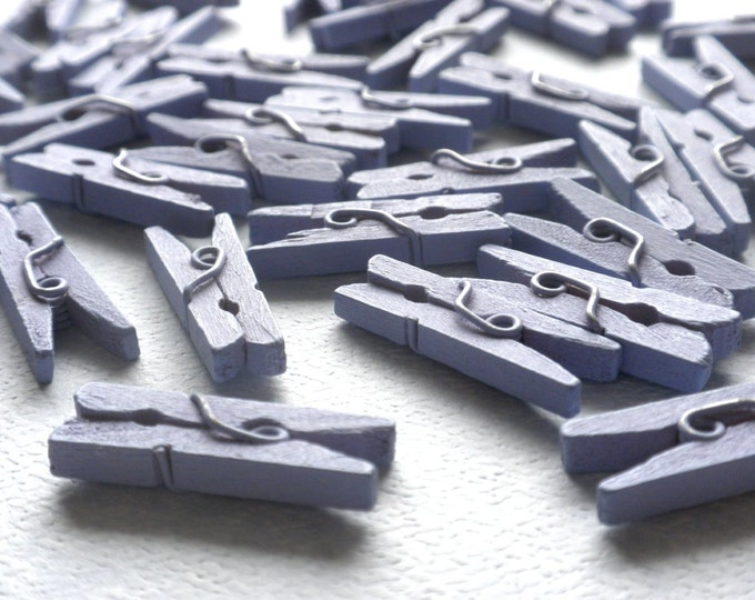 """Mini Clothespins in Light Purple - 25 - 1"""" or 2.5 cm - Wooden - Lavender - Great for Scrapbooking Paper Crafting Party Favors"""