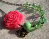 Hot Pink and Lime Floral Necklace