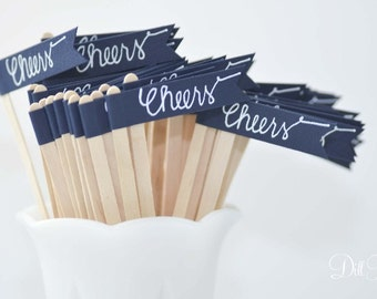 25 Navy Blue Drink Stirrer Sticks with Calligraphy Cheers