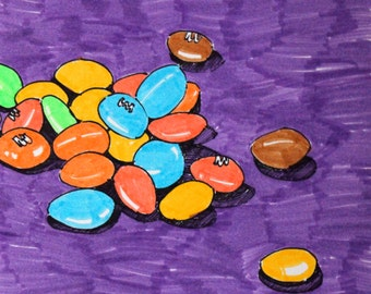 Original Marker Drawing - M&M's Chocolate Candy
