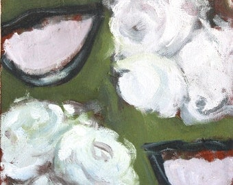 Original Oil Painting - Surreal Smile Mouths and White Flowers Green White Abstract Painting