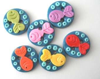 Button Sea of Fish handmade polymer clay buttons ( 6 )