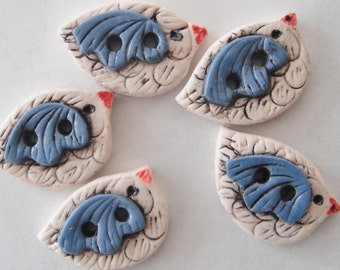 Button Rustic Sandstone Birds handmade polymer clay 3/4 inch  buttons ( 5 )