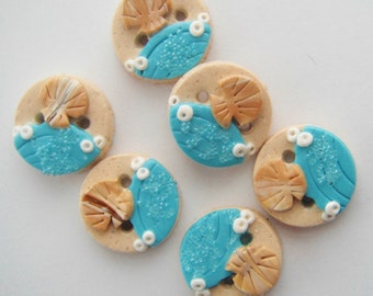 Button Sandy Beach and Shells handmade polymer clay buttons ( 6 )