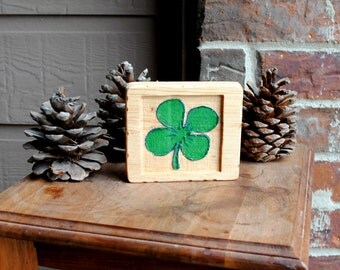 Four Leaf Clover Carved Wooden Sign - Luck - Hand Painted