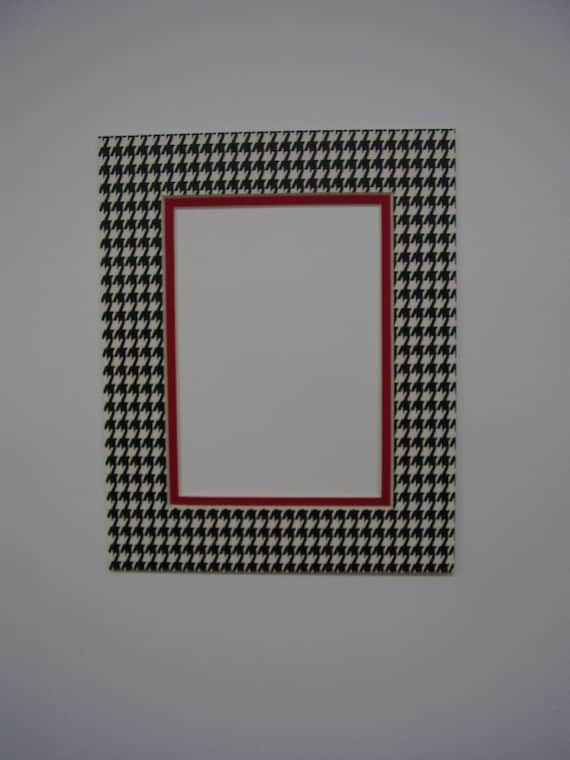 Picture Frame Mat Houndstooth Check Black Amp White With Alabama