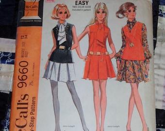 Vintage 1969 McCall's Pattern 9660 for Mini Dress, Size 12, Bust 34, uncut, factory folds