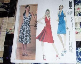 2002 McCalls Pattern 3584 for Misses Dresses, Halter Dresses Size AAX 4 - 10 Uncut, Factory Folds