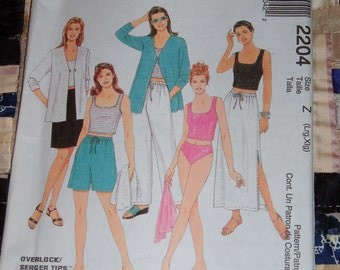 1999 McCalls Pattern 2204 for Misses Cardigan, Tank Top, Pants, Shorts, Skirt, Bikini Brief, Size Z, Lrg, Xlg Uncut, Factory Folds