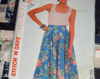 1985 McCalls Stitch 'N Save Pattern 2014 for Misses Top and Skirt Size B, 12, 14, 16 Uncut, Factory Folds