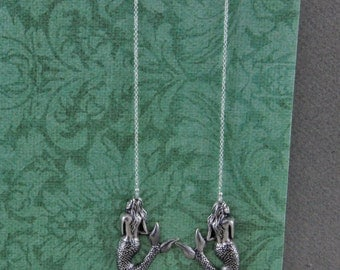Silver Plated Mermaids on Long Chains Shoulder Dragger Earrings