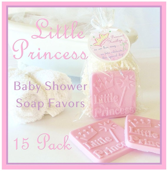 15 LITTLE PRINCESS Pink Girl Baby Shower Soap Favor Pack - personalized, party, custom gift tag, scented, baby girl, gift wrapped
