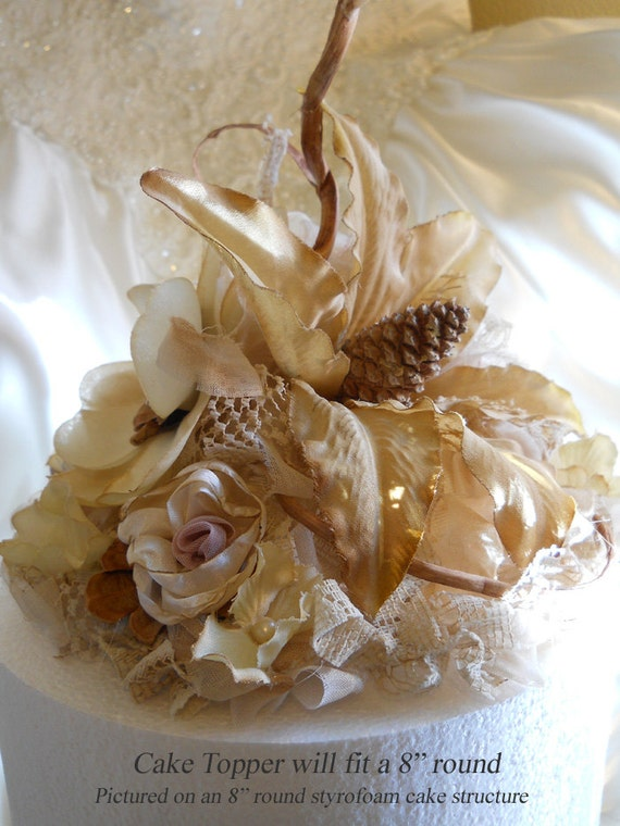 Items Similar To Rustic Vintage Style Lily Wedding Cake Topper With Matching Garlands Coffee