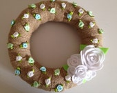 Burlap Wreath with Beautiful White Felt Roses and Colorful Satin Roses-Door Decoration-10 IN WREATH-Ready to Ship