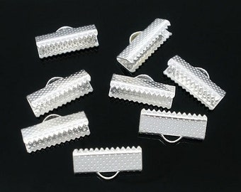 100 Silver Plated Ribbon End Cap Crimp Beads 16 x 7.5mm - FD62