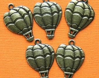 8 Hot Air Balloon Charms Antique Bronze Tone - BC502