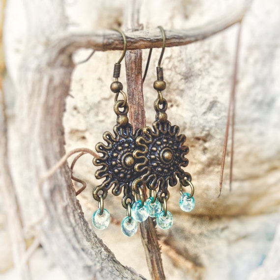 Indian aqua blue drop chandelier earrings  Beaded dangle earrings Ethnic jewelry.