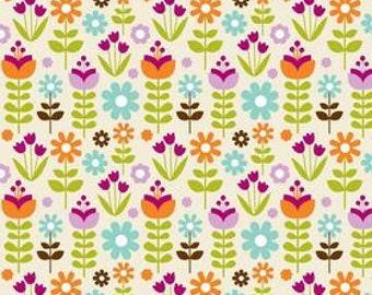 Riley Blake Designs, Garden Fabric, Little Matryoshka, Garden in Cream, Florals, Half Yard