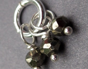 Pyrite Gemstone Wire Wrapped Dangle Trio Pendant Charm with Sterling Silver Jump Ring