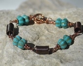 Turquoise Style Squash Beads Copper Coil Bracelet ......................item number 5312