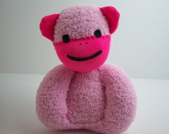 Sock monkey toy for newborn babies and toddlers in pink, child safe toy, baby girl, baby toy monkey, baby shower gift