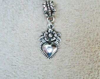Dangling Victorian Heart Charm for European Add a Bead Bracelet