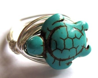 Turquoise Turtle Stone Wire Wrapped Ring Tortoise Boho Fashion Jewelry
