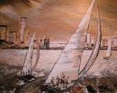 Original Acrylic Painting on Canvas - Seascape -Sailing in Sydne's harbour -Home decor - wall art - interior design