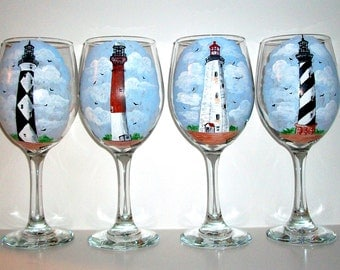 Lighthouses Hand Painted Wine Glasses Painted Wine Glasses Set of 4  20 oz. Wine Glasses, Lighthouse Wedding, Family Reunion, Cape Hatteras