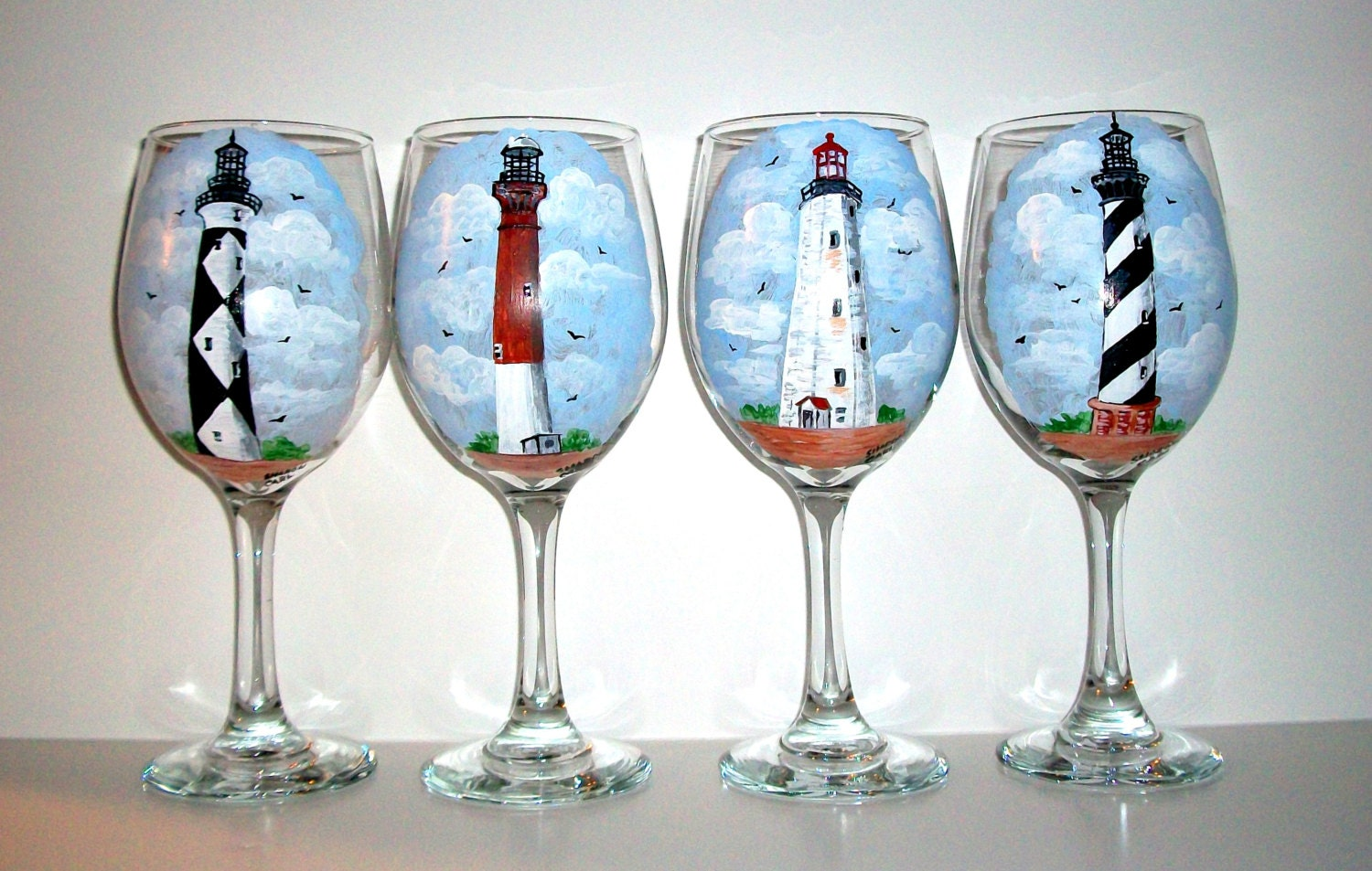 Lighthouses hand painted wine glasses painted wine glasses set Images of painted wine glasses