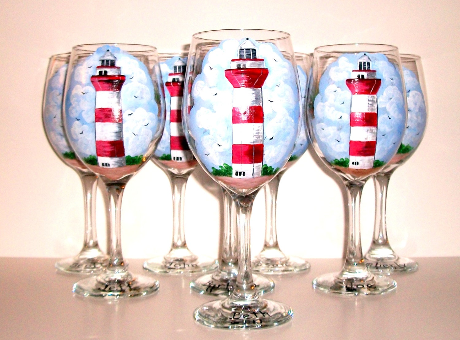 Hilton head lighthouse hand painted wine glasses set of 8 for Hand painted glassware