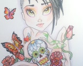 Fantasy Big Eye Art Sugar Skull Roses Punk Girl with Tattoo 8.5 x 11