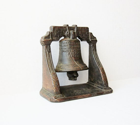Antique Bookend Heavy Cast Metal Liberty Bell Vintage By